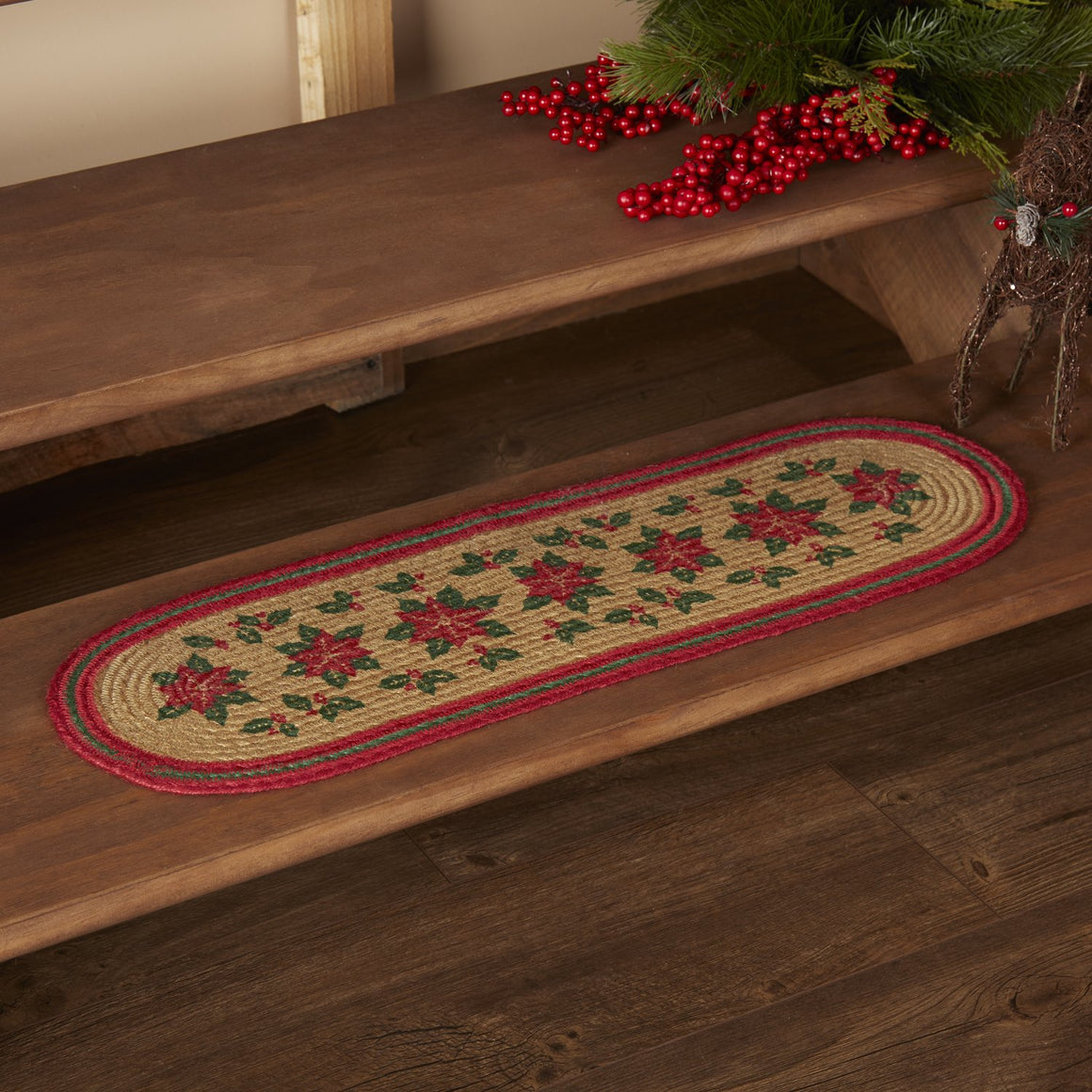 Poinsettia Jute Stair Tread Oval Latex 8.5x27