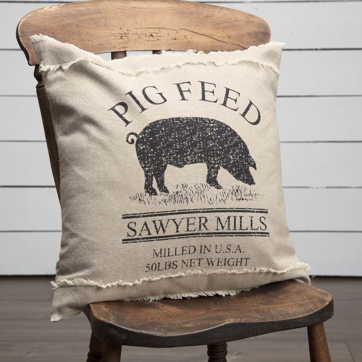 Sawyer Mill Charcoal Pig Pillow 18x18