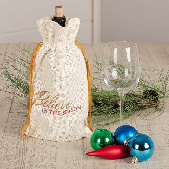 Creme Burlap Wine Bag Believe In The Season 13x6.5