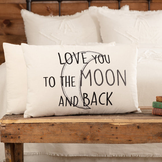 Casement Natural Love You to the Moon and Back Pillow 14x22