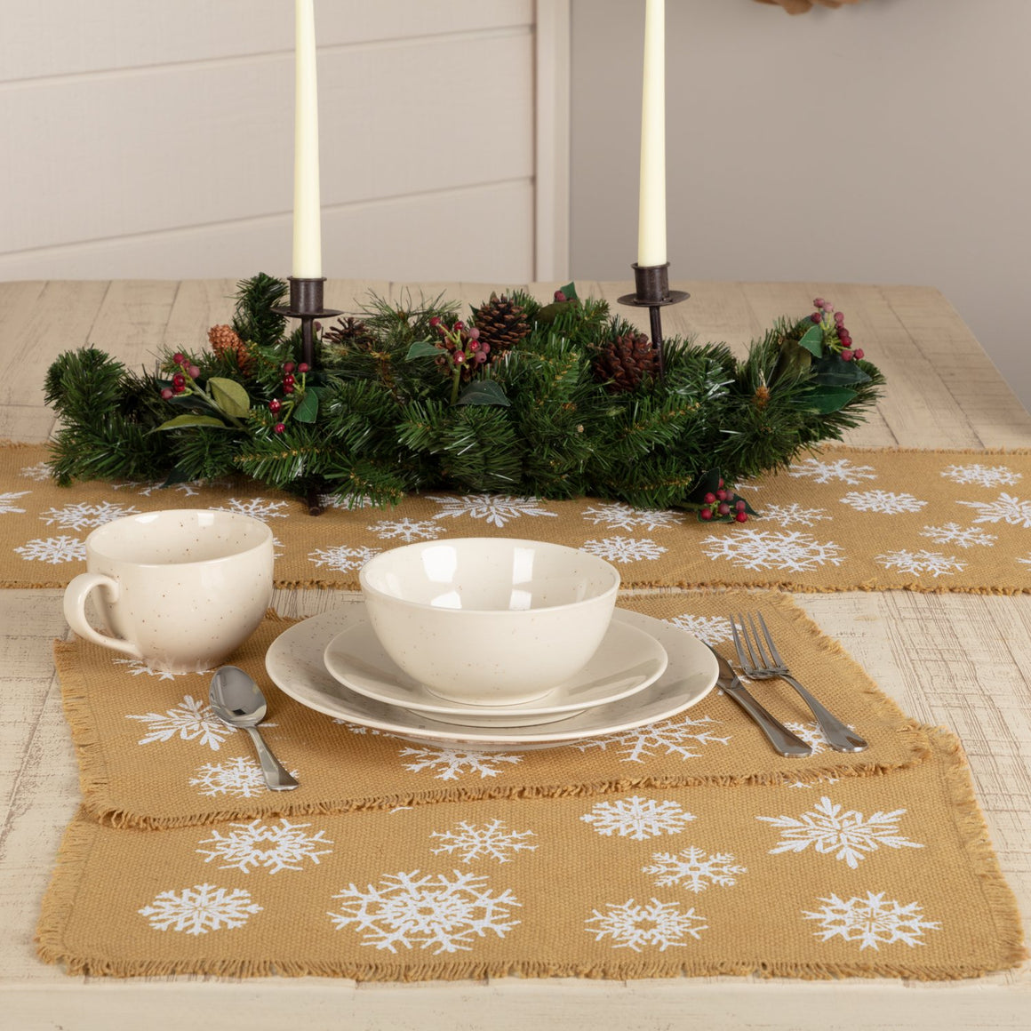Snowflake Burlap Natural Placemat Set of 6 12x18