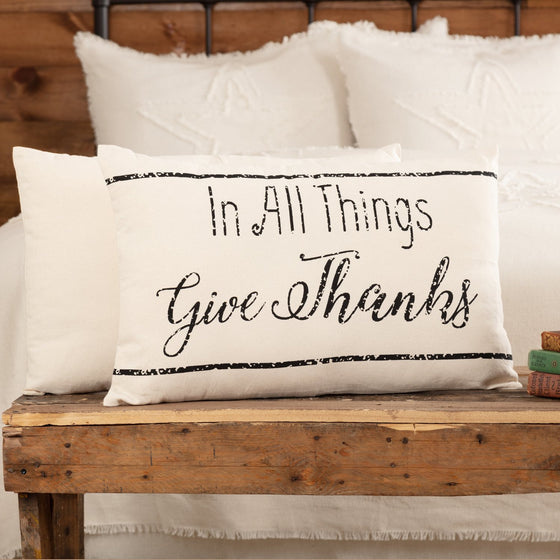 Casement Natural In All Things Give Thanks Pillow 14x22
