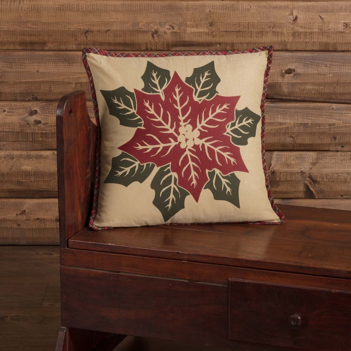 National Quilt Museum Poinsettia Block Pillow 18x18