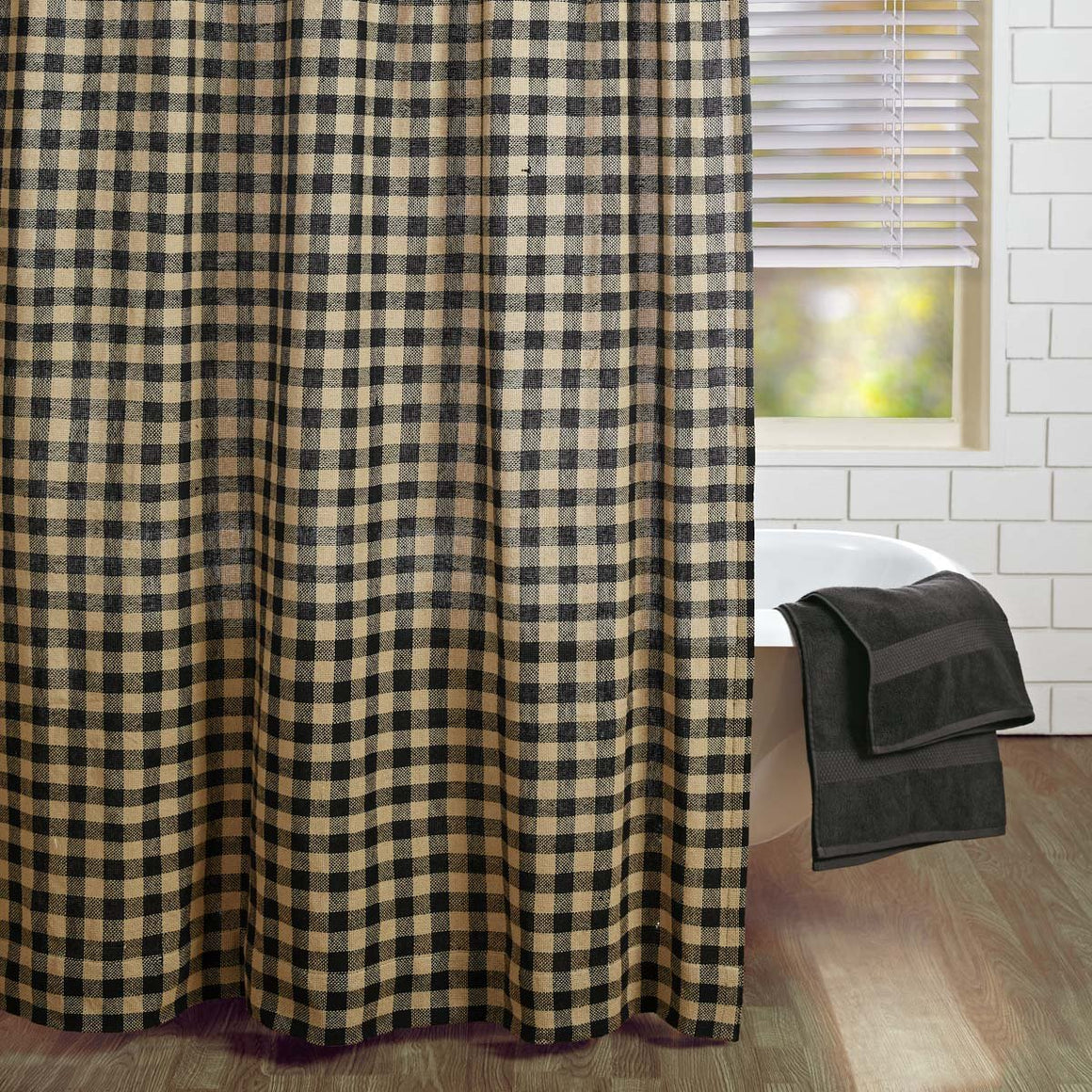 Burlap Black Check Shower Curtain 72x72