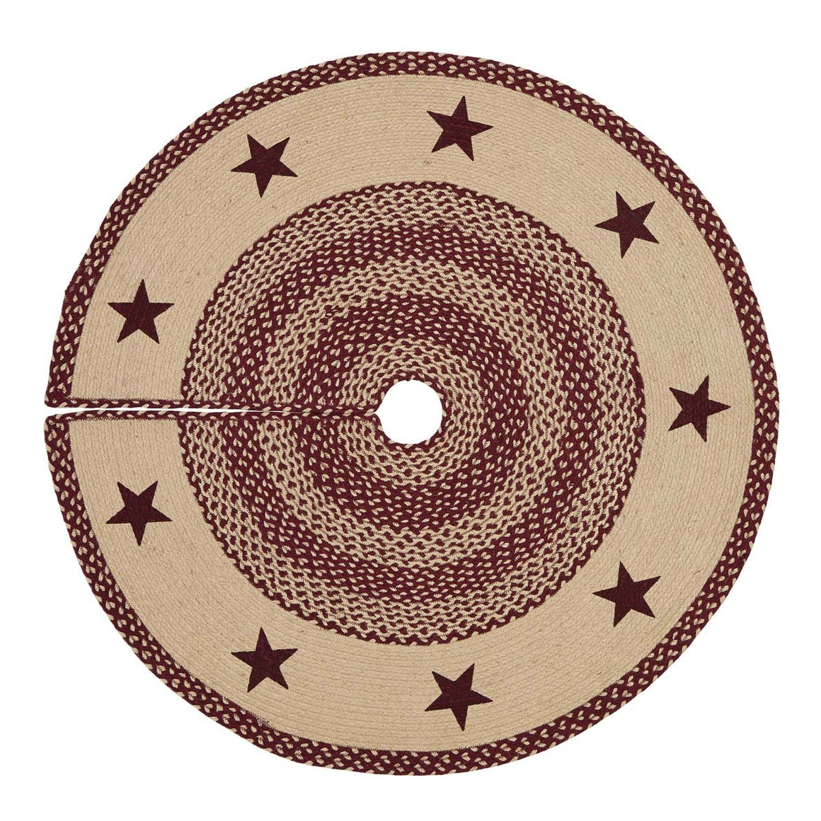 Burgundy Tan Jute Stencil Stars Tree Skirt 48