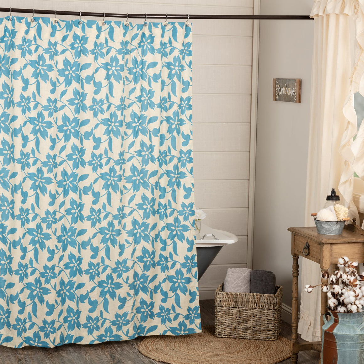 Briar Azure Shower Curtain 72x72