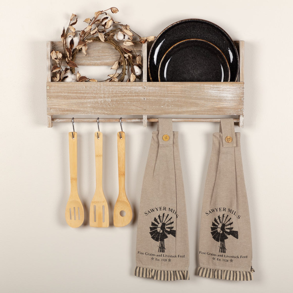 Sawyer Mill Charcoal Windmill Button Loop Kitchen Towel Set of 2