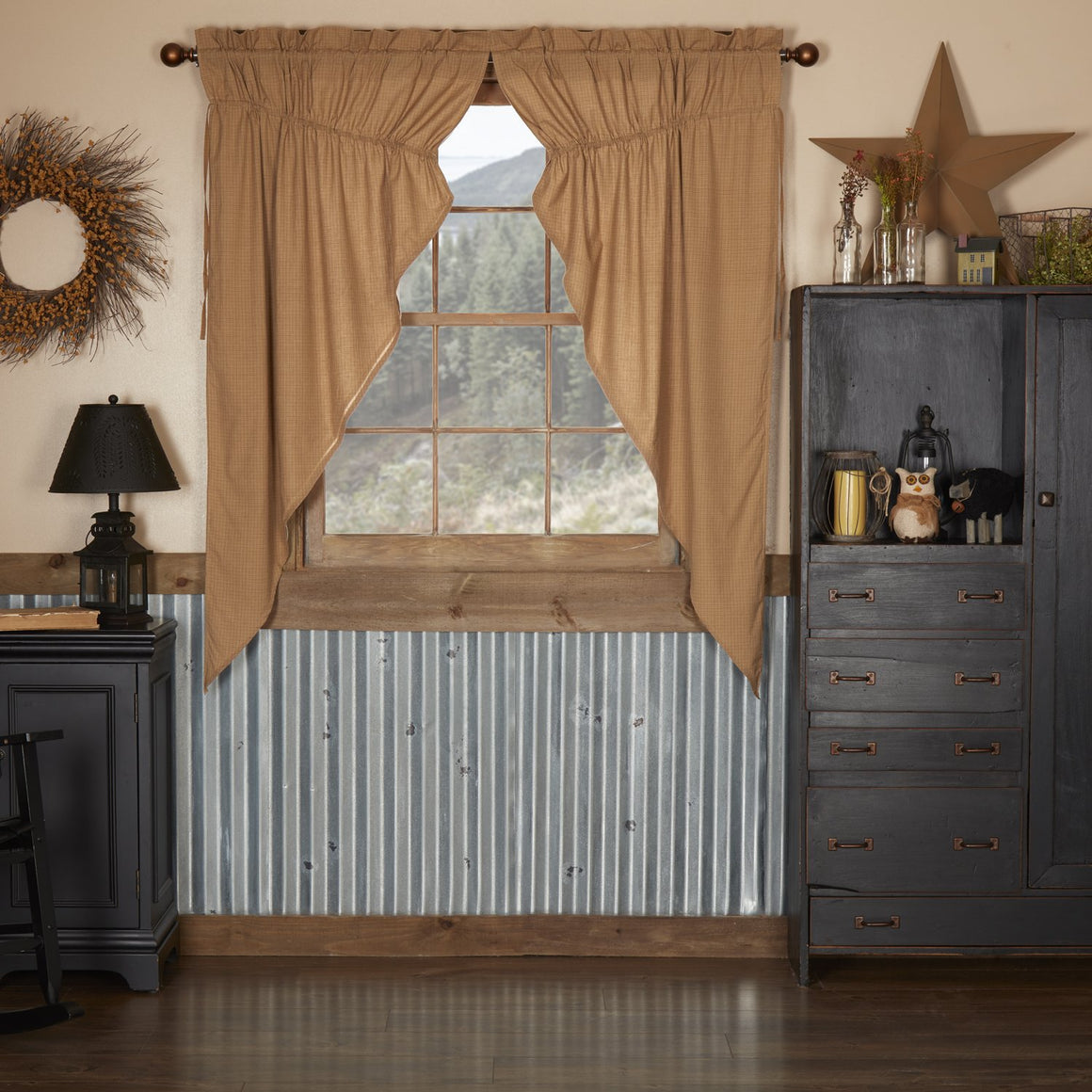 Kindred Star Plaid Prairie Short Panel Set of 2 63x36x18