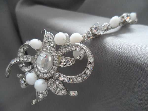1920s band rhinestone and alabaster crystals (White)