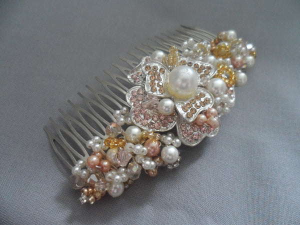 Peaches and cream floral Comb