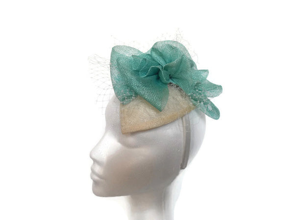 Aqua and Ivory fascinator, Ex Sample