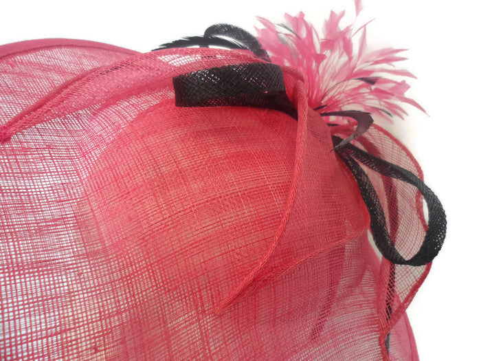 Plume Pink and black Fascinator