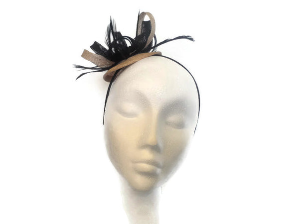 Black and taupe shade, Disc Fascinator Ex sample