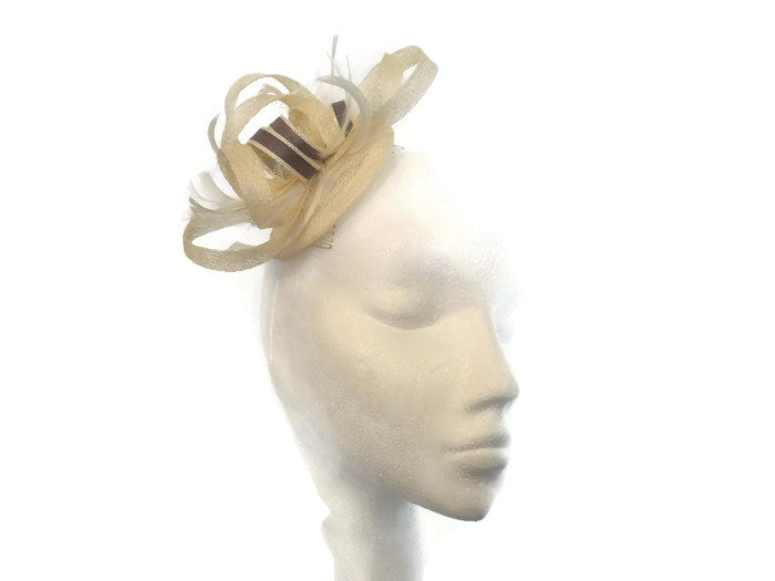Ivory and Taupe, Mink Fascinator Ex sample