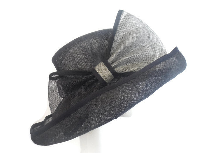 Navy and silver grey hat with over sized bow