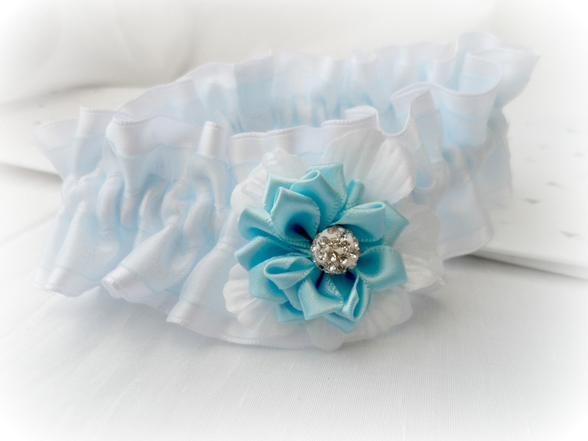 Wedding Bridal Garter, delicate blue and white Silk flower