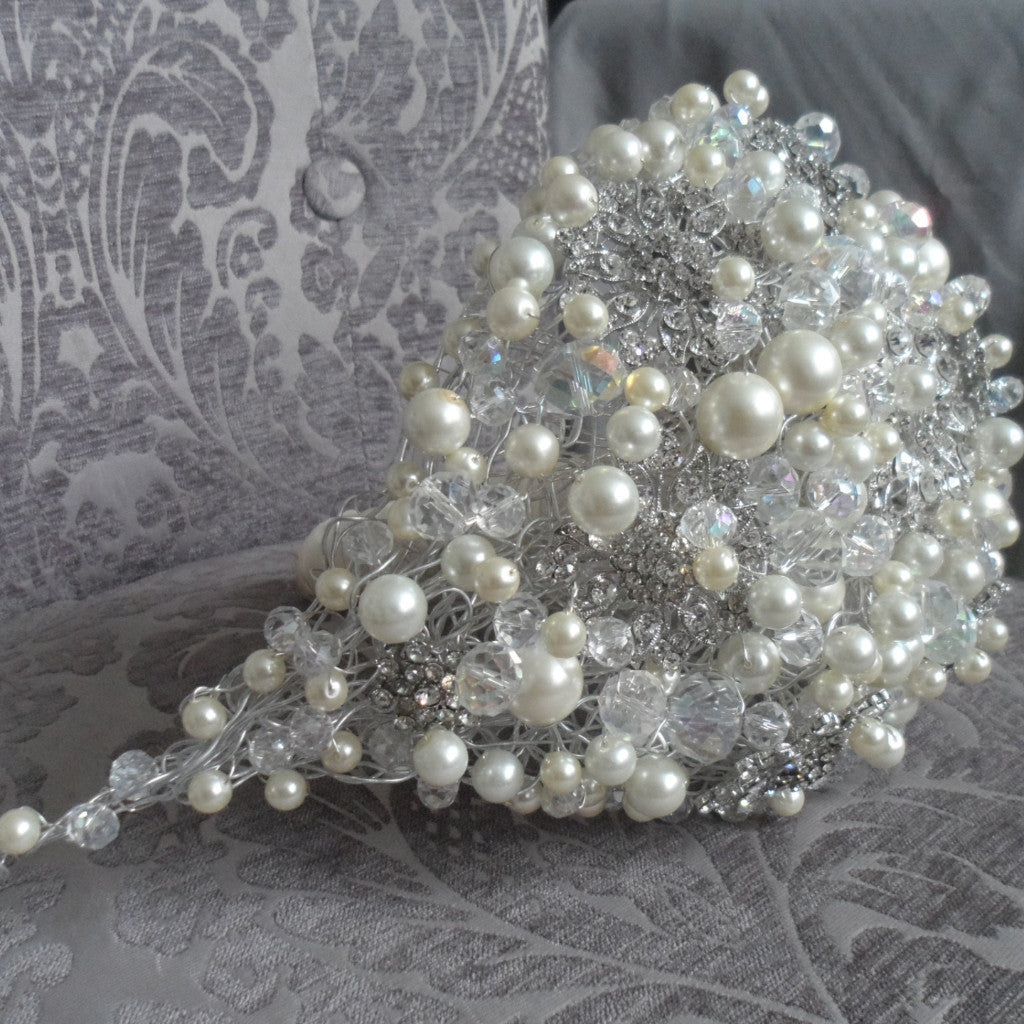 Custom beaded / brooch Waterfall shaped bouquet