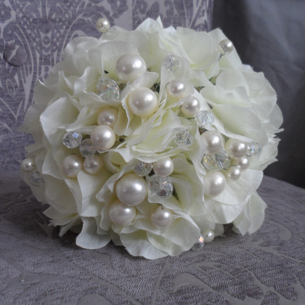 Hydrangea Flower girl beaded posie