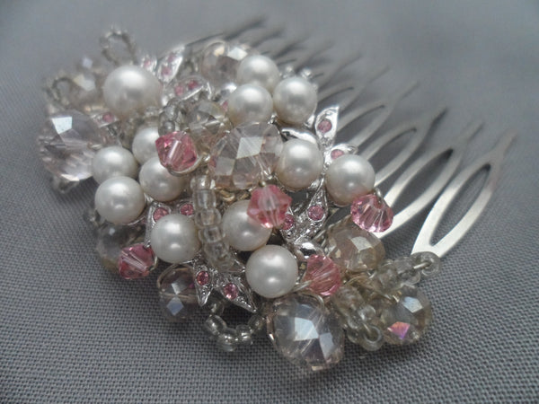 Vintage find cluster comb pink and grey tones