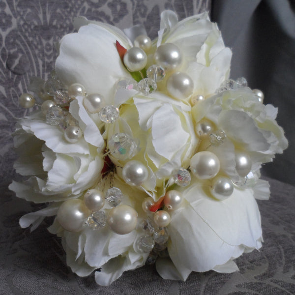 Peony pearl and crystal beaded Bridesmaid bouquet