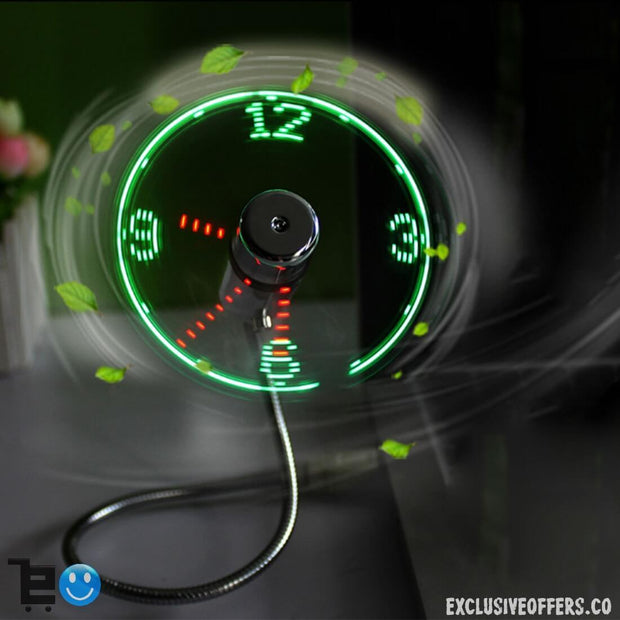 Electronics Gadgets - Electrika™ USB Fan Light LED Clock - Glowing & Flashing - 50% Off