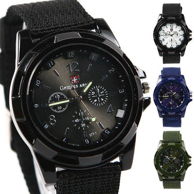 Watches - Military Style Canvas Belt Luminous Quartz Watch - Exclusive Offer