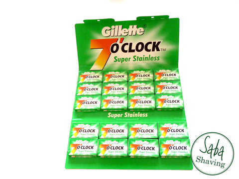 100 GILLETTE 7 O'CLOCK SUPER STAINLESS DOUBLE EDGE RAZOR BLADES