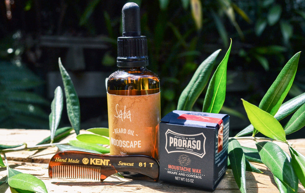 Men's Beard Oil and Moustache Wax by Saba Soap and Body