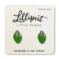Green Light Bulb Earrings