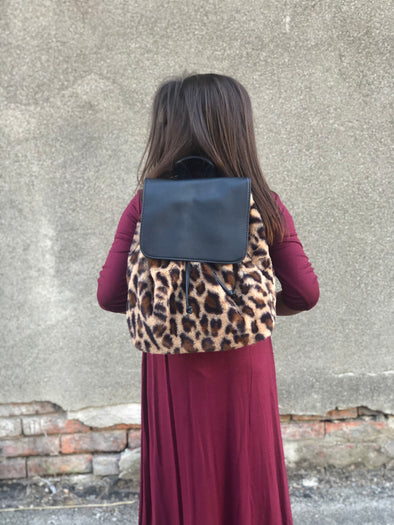 Leopard Fur Mini Backpack