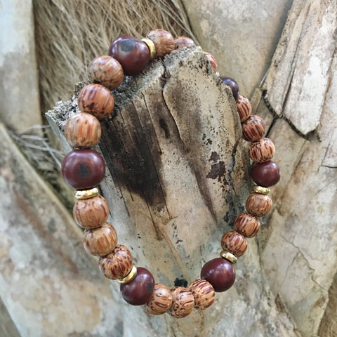 Acai Palm Bracelet - Maroon/Brown