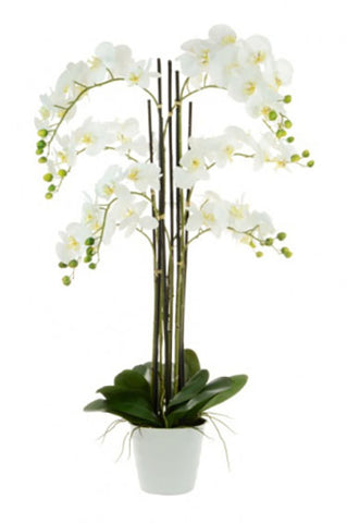 Large faux white orchid arrangement 109cm