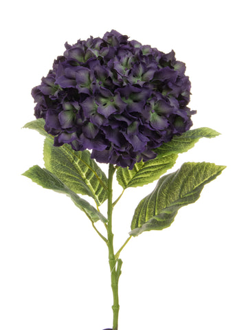 Large faux dark purple hydrangeas bunch of 6