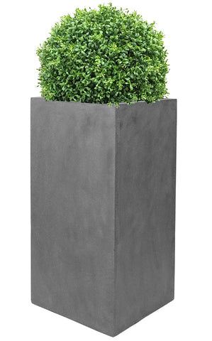 Artificial deluxe boxwood ball in tall grey square planter