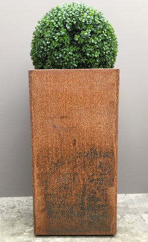 Industrial tall corten steel outdoor planter