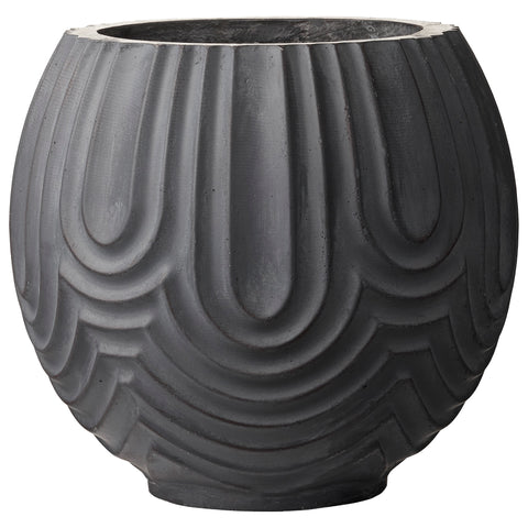 Dark grey round Sarah plant pot by Lene Bjerre Design