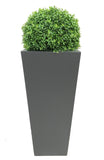 Deluxe artificial boxwood ball in tall grey planter