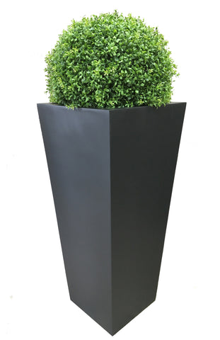 High quality artificial topiary ball in large tall black tapered planter