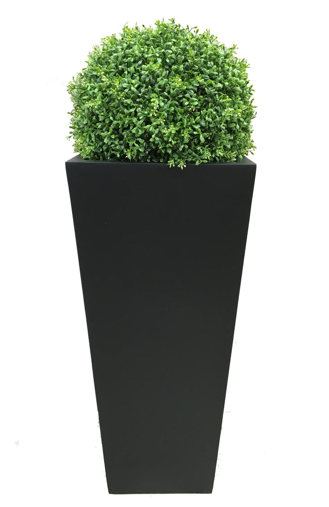 Deluxe Artificial Topiary Ball In Tall Tapered Grp Planter Artificial Green