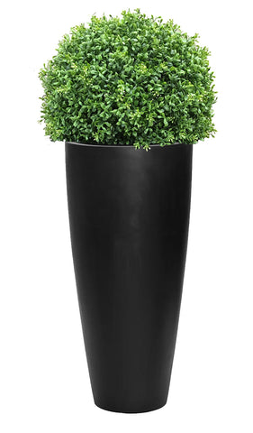 Outdoor Artificial Boxwood Topiary Balls In Tall Tapered Round Planters
