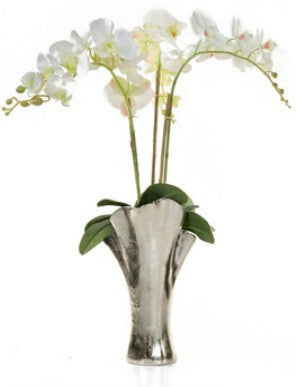 Artificial White Orchid Arrangement In Tall Silver Vase