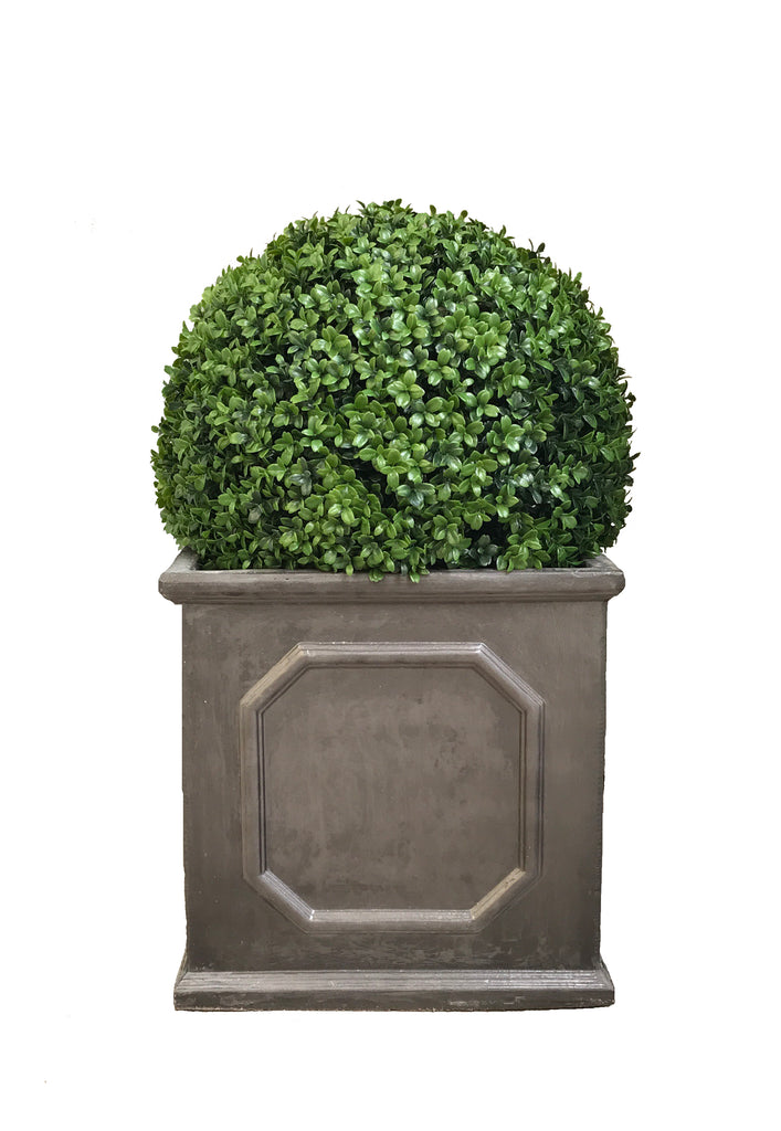 Artificial Boxwood Topiary Ball London Square Faux Lead
