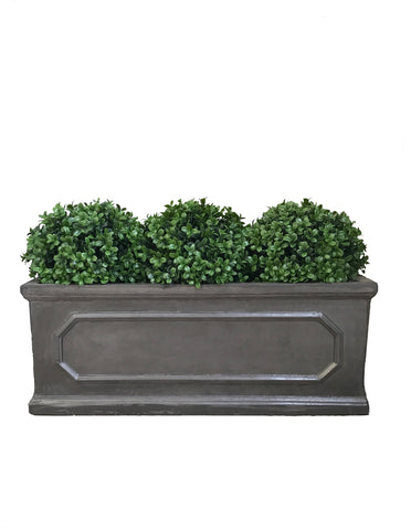 London Window Box Trough With Boxwood Balls