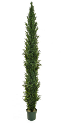 Tall outdoor artificial cedar / cypress topiary tree