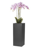 Floor Standing Artificial Pink Orchid Arrangement In Tall Square Planter 1.7m
