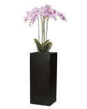 Large pink artificial orchid arrangement in tall black planter