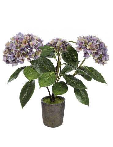 Faux potted purple hydrangea in rustic pot