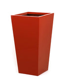 Tall red planters. Large tapered square planter in bright red.