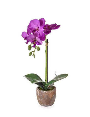 Faux pink orchid arrangement in pot
