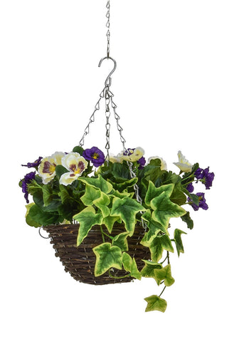 30cm Artificial hanging basket with purple and white
